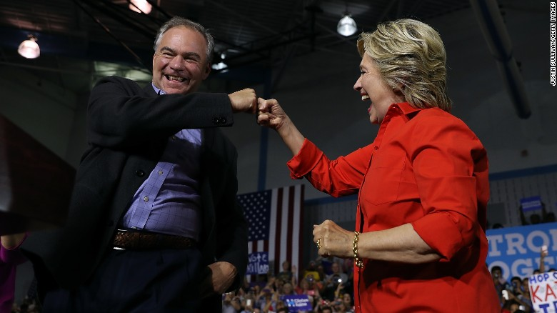 Clinton and Kaine target Trump's base on bus tour