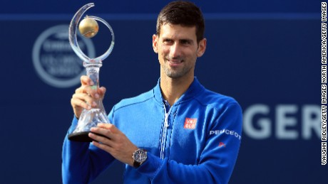 TORONTO, ON - JULY 31: Novak Djokovic of Serbia celebrates winning the Singles Final over Kei Nishikori of Japan during Day 7 of the Rogers Cup at the Aviva Centre on July 31, 2016 in Toronto, Ontario, Canada. (Photo by Vaughn Ridley/Getty Images)
