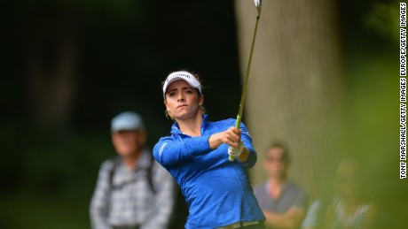 WOBURN, UNITED KINGDOM - JULY 28:  Gaby Lopez of Mexicoa hits her 2nd shot on the 3rd hole during the first round of the 2016 Ricoh Women's British Open on July 28, 2016 in Woburn, England.  (Photo by Tony Marshall/Getty Images)