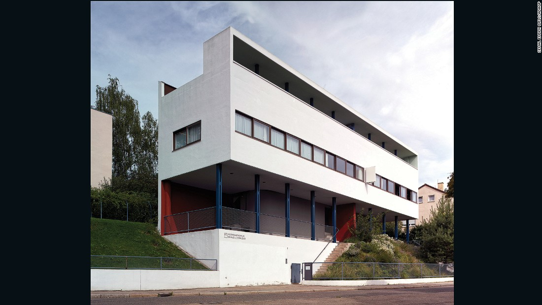 Le Corbusier and other architects built a series of 21 worker houses. This family home within the complex exhibits much of his signature style including long, horizontal windows and a flat roof terrace.