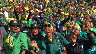 The ANC's final rally in Johannesburg. Many polls suggest the ANC could face a stern test in the upcoming election