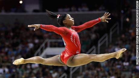 SAN JOSE, CA - JULY 10:  Simone Biles competes in the floor exercise during Day 2 of the 2016 U.S. Women's Gymnastics Olympic Trials at SAP Center on July 10, 2016 in San Jose, California.  (Photo by Ezra Shaw/Getty Images)