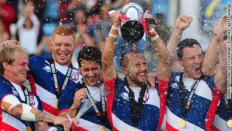 EXETER, UNITED KINGDOM - JULY 10: Luke Treharne, Captain of Great Britain Royals lift the Cup Trophy after victory over France during the Cup Final match between Great Britain Royals and France during Day Two of the 2016 Rugby Europe Men's Sevens Championships at Sandy Park on July 10, 2016 in Exeter, England. (Photo by Harry Trump/Getty Images)