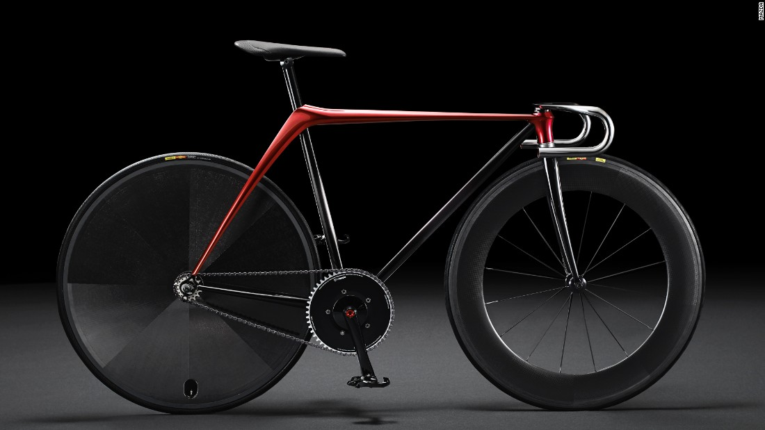 """Japanese car giant Mazda unveiled its """"Bike by KODO concept"""" at the 2015 Milan Design Week. The track bike is composed of the least possible parts, according to Mazda, For instance, the frame is hammered out of one piece of metal."""