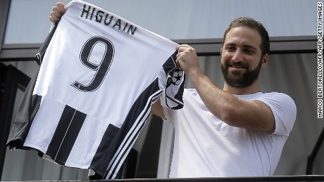 Juventus' forward Gonzalo Higuain from Argentina holds his jersey at the Juventus' headquarter in Turin on July 27, 2016. Gonzalo Higuain completed a sensational move to Juventus after the Italian champions agreed to pay a 90 million euros ($98.8m) fee, the third highest in history, to wrest the Argentine striker from Napoli on July 26. In what is the biggest ever transfer fee recorded between two Serie A clubs, Higuain's move to Turin on a five-year deal was confirmed by Juventus two hours after being published by Serie A league bosses on their official website.  / AFP / MARCO BERTORELLO        (Photo credit should read MARCO BERTORELLO/AFP/Getty Images)