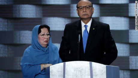 Khizr Khan, father of deceased U.S. Army Capt. Humayun S. M. Khan, delivers remarks as he is joined by his wife Ghazala Khan on the fourth day of the Democratic National Convention at the Wells Fargo Center, July 28, 2016 in Philadelphia, Pennsylvania.