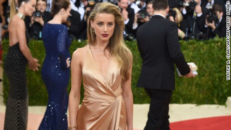Amber Heard arrives on the red carpet for the Costume Institute Benefit at The Metropolitan Museum of Art in New York on May 2.