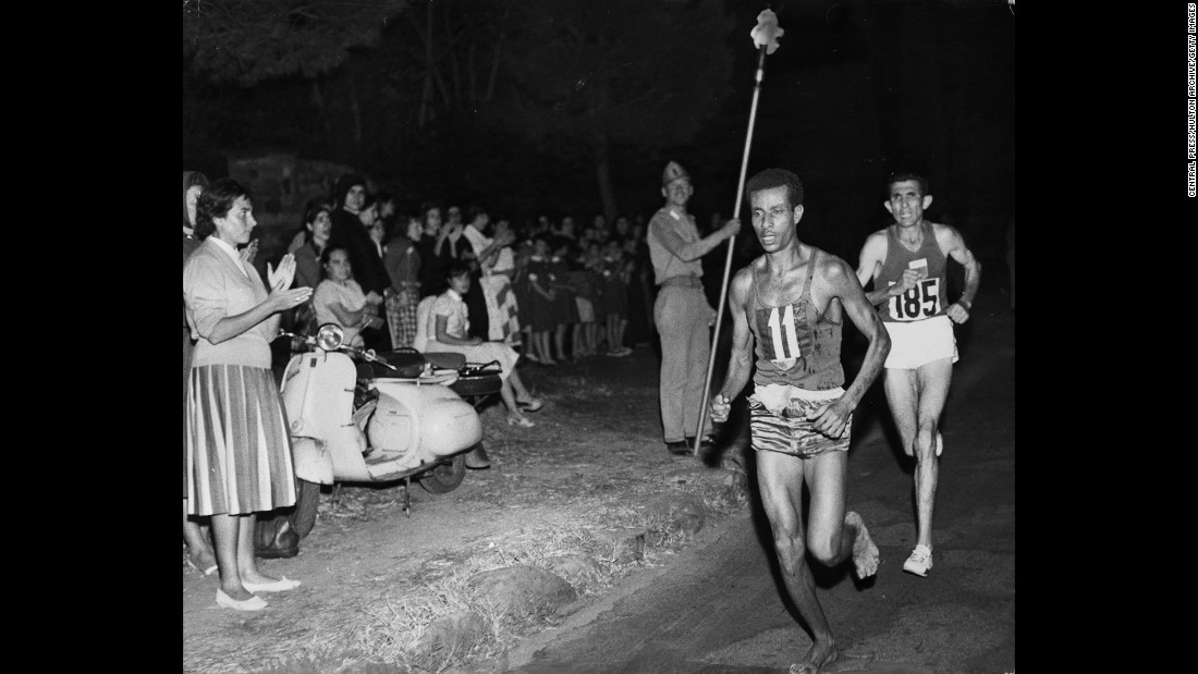 <strong>No shoes? No problem:</strong> Ethiopian runner Abebe Bikila became the first black African to win Olympic gold when he won the marathon in world-record time in 1960. And he did it in his bare feet, just the way he had trained.