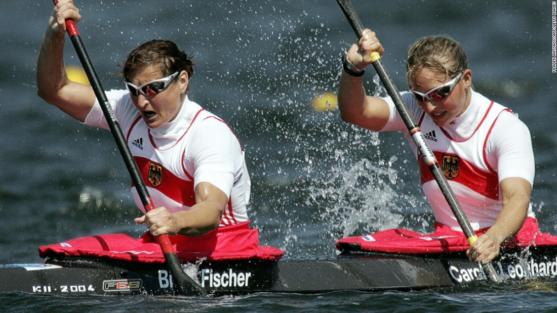 <strong>Now that's longevity:</strong> German kayaker Birgit Fischer, left, was 42 years old when she won gold at the 2004 Summer Games in Athens, Greece. She became the second person to win gold medals in six different Olympics. Hungarian fencer Aladar Gerevich was the first.