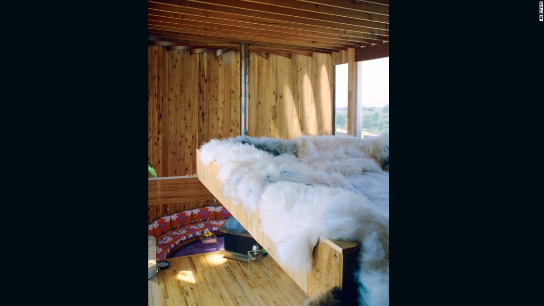 Interior of 556 Ocean Walk, featuring a fur-lined loft installed by its owner, Stuart Roeder, a PR man at Warner Brothers.
