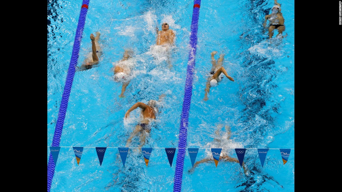 Swimmers train on August 2.