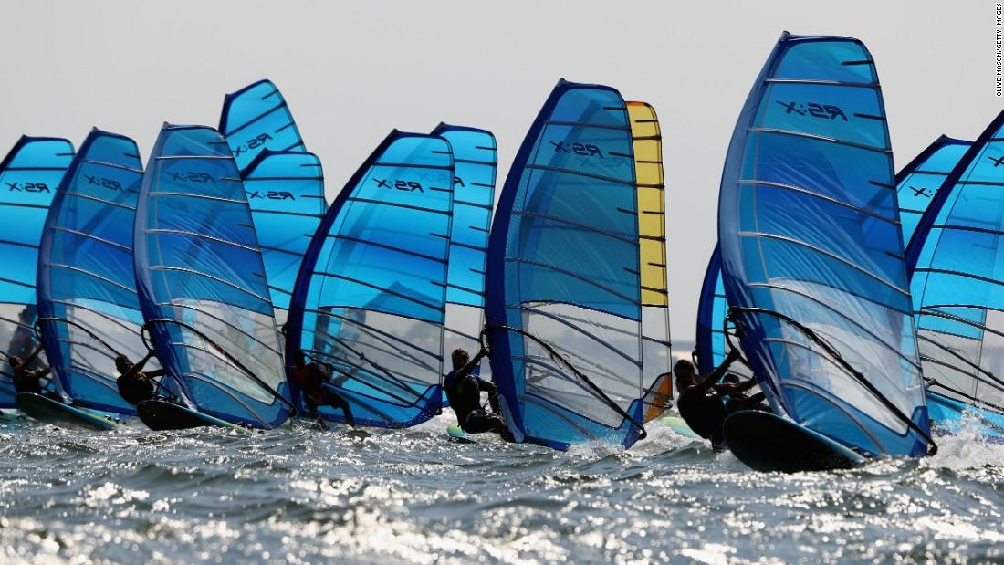 Windsurfers train in Rio on August 2.