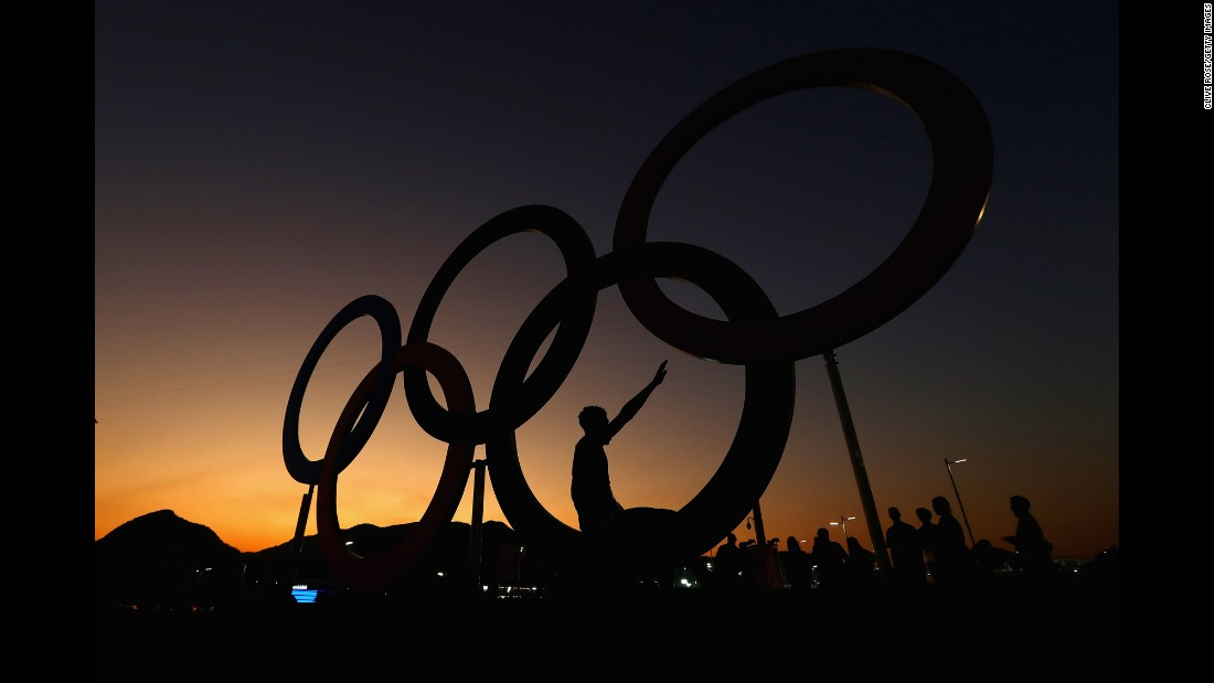 The sun sets over the Olympic Park in Rio on Monday, August 1.