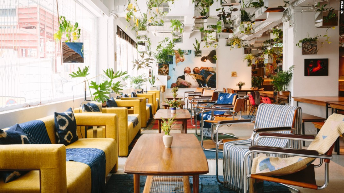 Architect Sou Fujimoto is behind the eclectic design and light-filled interiors of Potato Head Hong Kong. Look for vintage furniture, teak-wood tables, handmade textiles, and a ceiling full of potted plants.