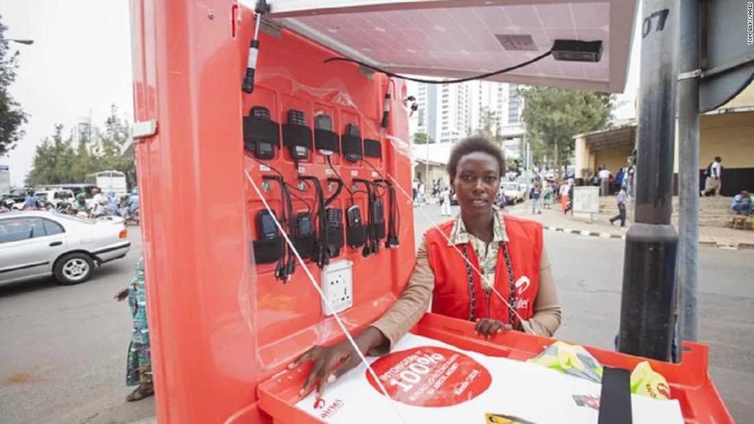 Nyakarundi said he wanted to do something that not only solves a practical problem -- charging empty cell phones -- but also has a social impact by creating micro businesses for people.