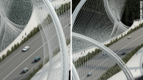 Steel cables connect the deck to the arches of the bridge in a cross-weaving pattern