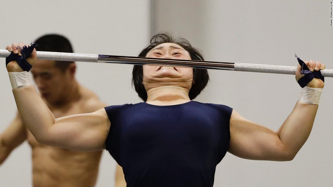 Weightlifters work out in Rio on August 3.