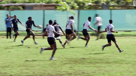 Fiji's sevens team trains during its Olympic selection camp.