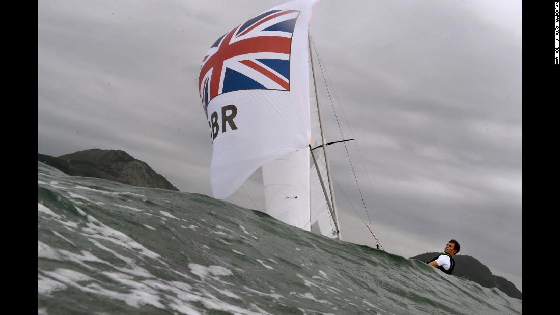 A British sailing crew trains in Rio's Guanabara Bay on August 3.