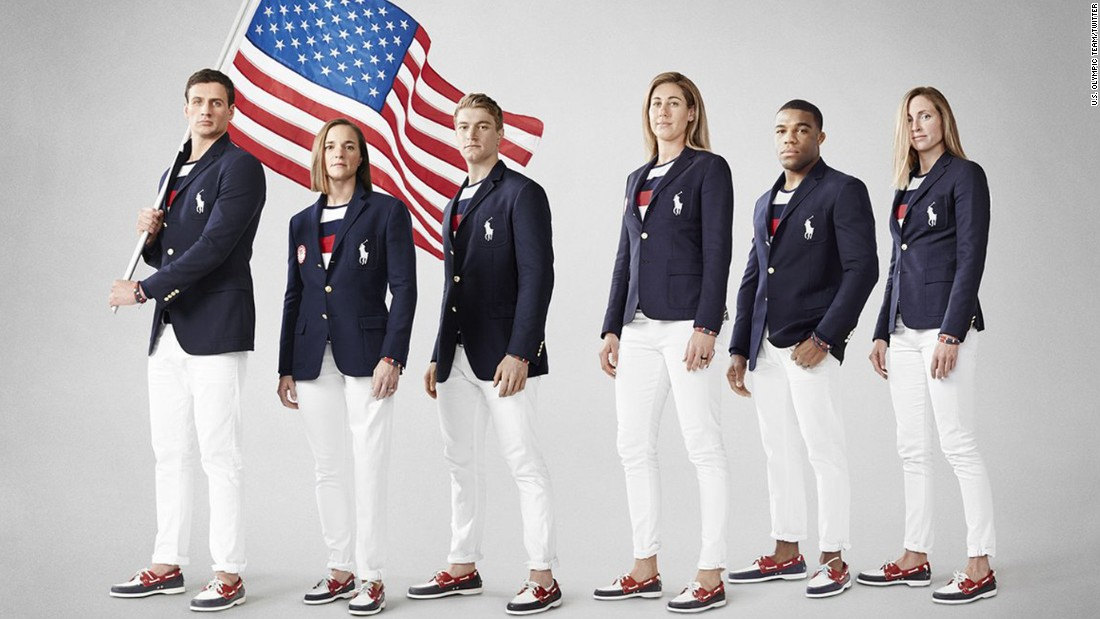 <strong>Rio, 2016:</strong> Nothing to see here, just ... wait, is that the Russian flag? Uniform haters dinged this year's Ralph Lauren offerings because the jaunty patriotic striped top resembles a certain rival country's banner, which has horizontal white, blue and red bars.