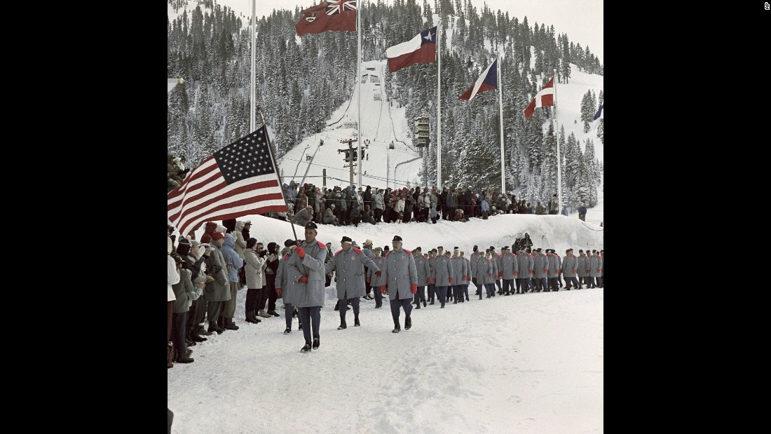 <strong>Squaw Valley, 1960:</strong> When it comes to military looks, there's fashionably military -- cocked berets, flashy epaulettes and such things -- and then there's uncomfortably military. This is the latter.