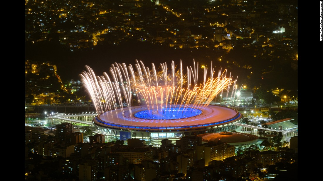 Fireworks explode during a rehearsal of the opening ceremony on Wednesday, August 3.