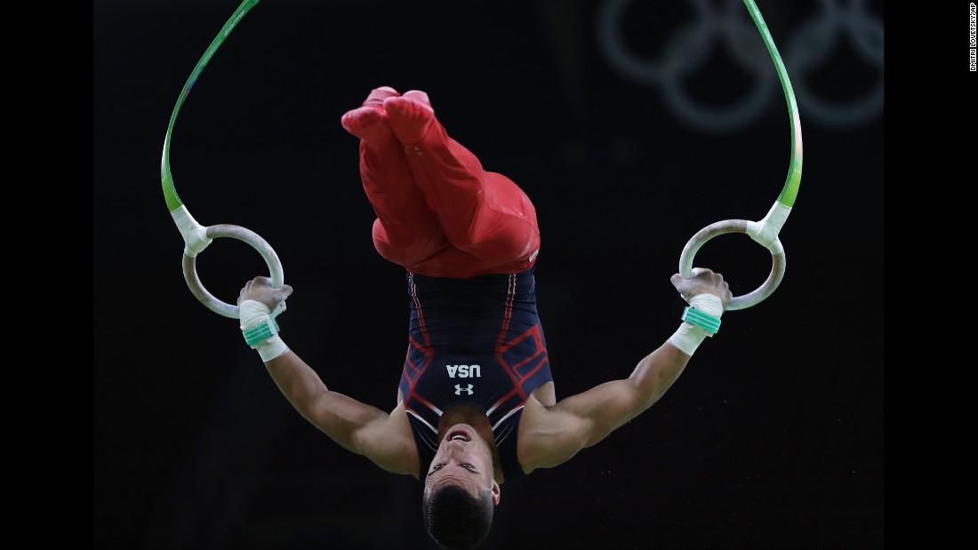 U.S. gymnast Jacob Dalton trains on the rings on August 3.
