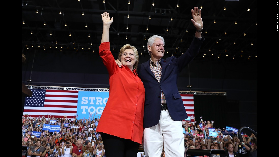 Hillary Clinton, the Democratic Party's presidential nominee, attends a campaign rally in Pittsburgh with her husband, former President Bill Clinton, on Saturday, July 30.