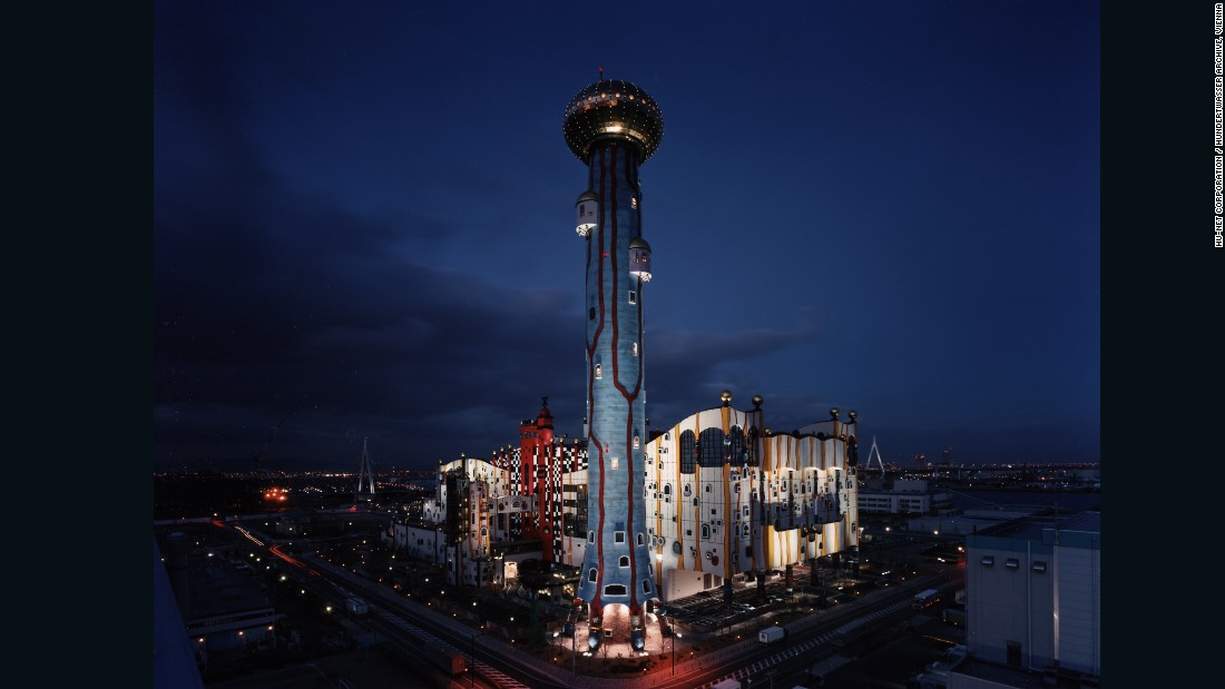 """Dubbed """"MOP"""" this Hundertwasser-designed incineration plant was finished in 2001. The 394-foot chimney stack draws attention thanks to its colorful design that's in harmony with nature."""