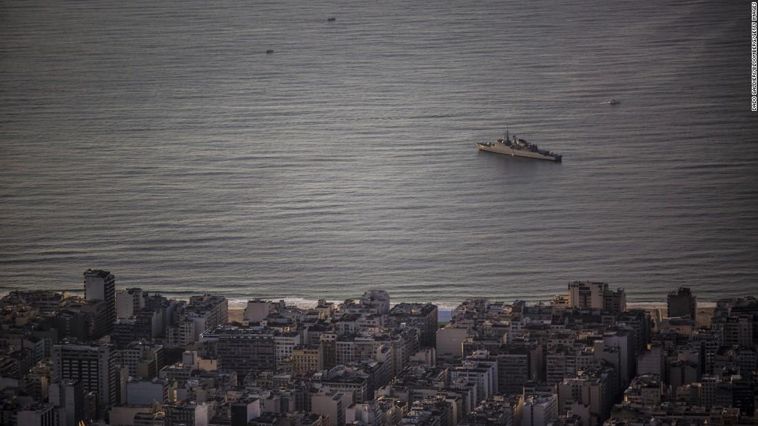 A navy boat patrols near Rio's Copacabana Beach on August 5.