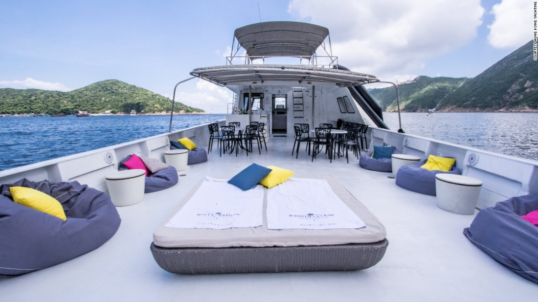 Jungle Jane, one of Hong Kong Yachting's flagship boats, adorns its deck with beanbags and a king-sized sunbed.