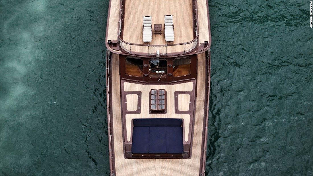 While the multi-decked, 80-foot boat exudes old-school charm, Michelangelo opts for engines and energy-efficient LED lighting.