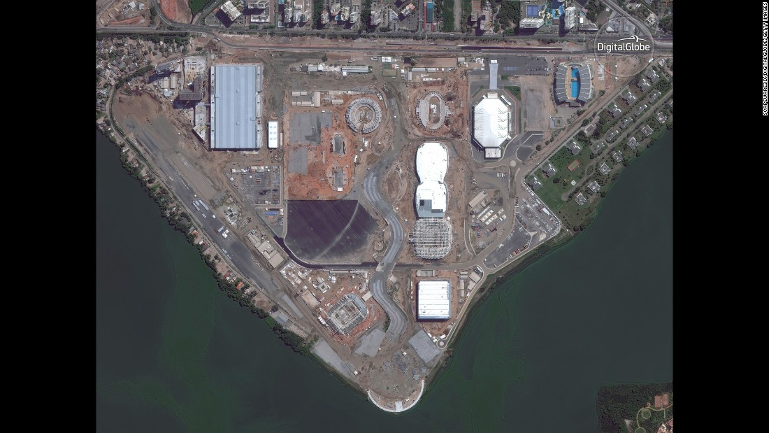 Satellite images, from 2012 to today, show the construction of the Barra Olympic Park in Rio de Janeiro.