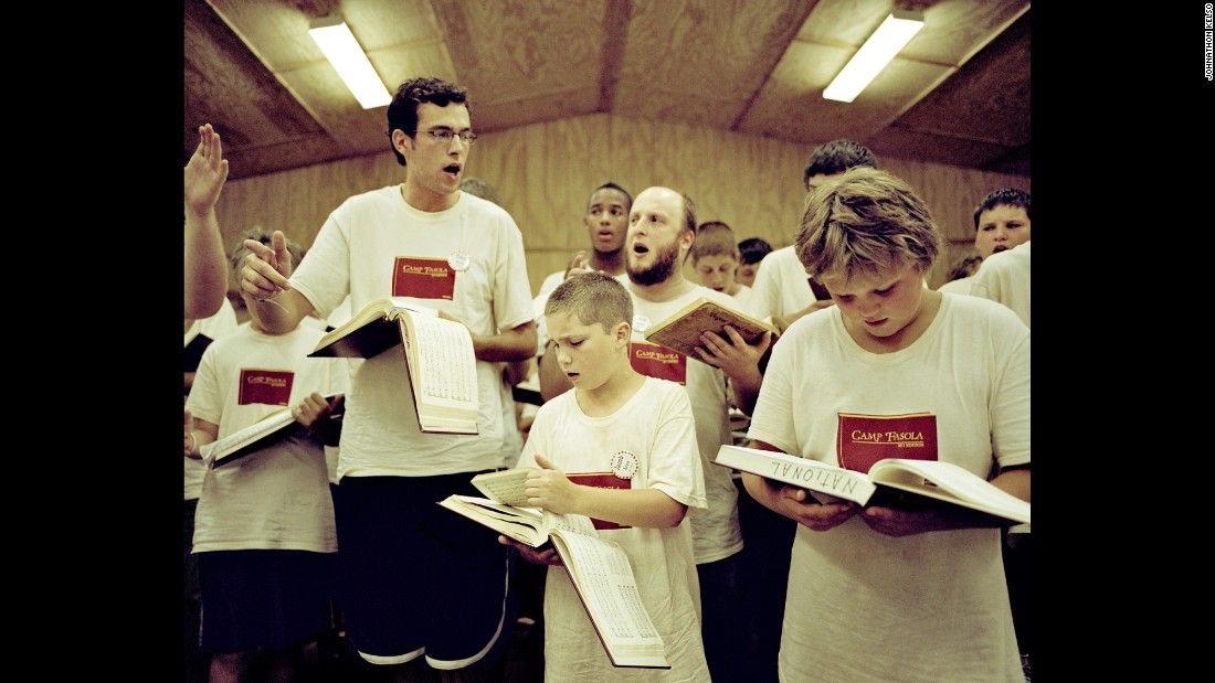Boys sing at Camp Fasola, the Sacred Harp camp in Anniston, Alabama.