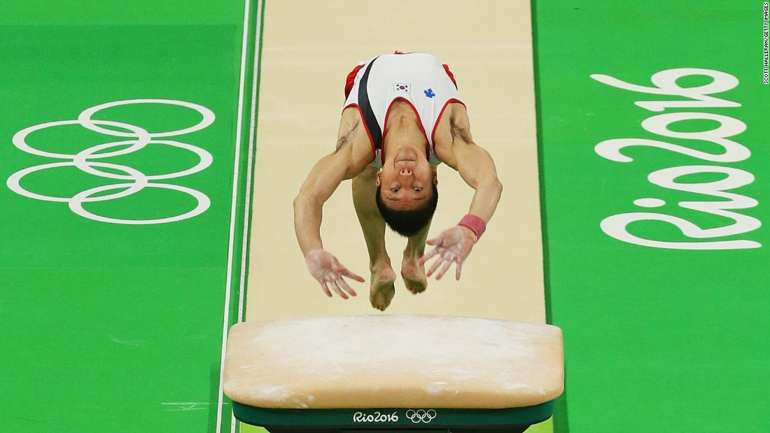 Shin Dong-hyen of South Korea competes on the vault in the artistic gymnastics men's team qualification round on Saturday.