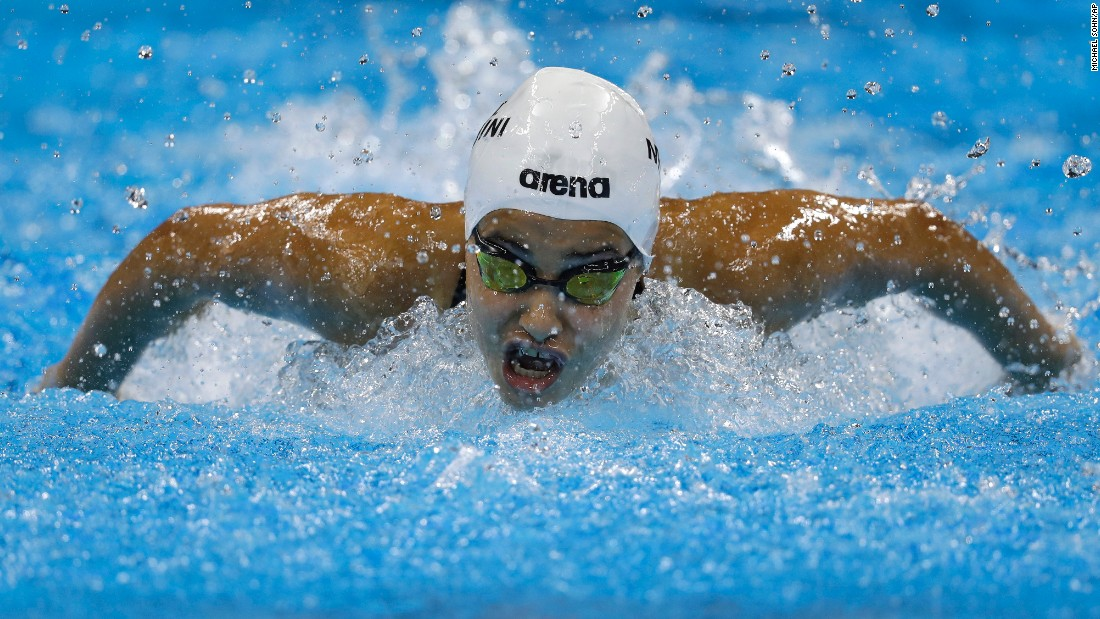 "Yusra Mardini, a swimmer for the Refugee Olympic team, competes in a 100-meter butterfly heat on Saturday, August 6. The Syrian native and her teammates have had a <a href=""http://edition.cnn.com/2016/08/06/sport/rio-2016-refugee-team-olympics-syria/"" target=""_blank"">remarkable journey to the Games</a>."