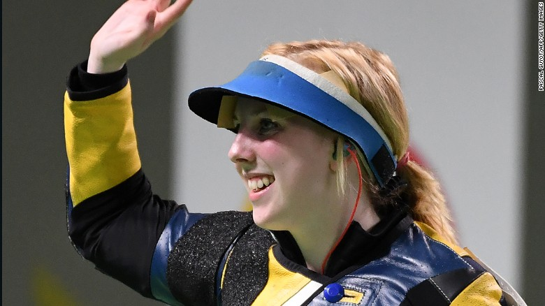 USA's Virginia Thrasher celebrates after winning the women's 10m air rifle shooting final at the Rio 2016 Olympic Games at the Olympic Shooting Centre in Rio de Janeiro on August 6, 2016. / AFP / Pascal GUYOT        (Photo credit should read PASCAL GUYOT/AFP/Getty Images)