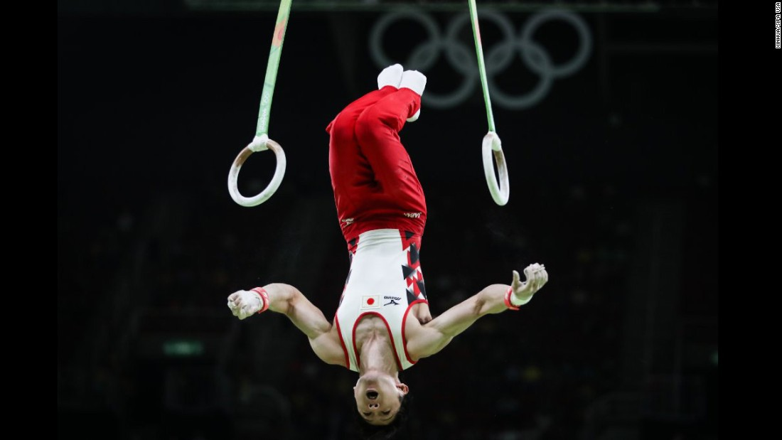 Uchimura Kohei of Japan takes part in the competition of qualification of artistic gymnastics.