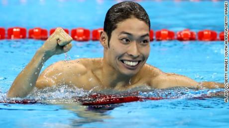 Kosuke Hagino celebrates after winning gold in the 400m individual medley.