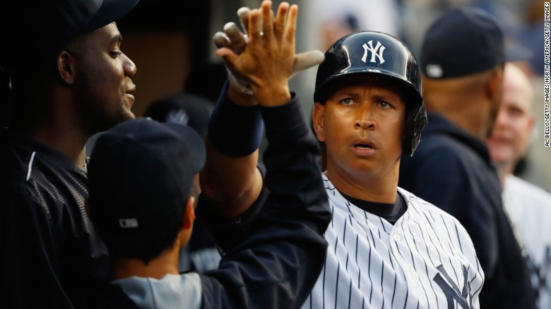 NEW YORK, NY - JULY 18:   Alex Rodriguez of the New York Yankees celebrates his home run against the Baltimore Orioles in the second inning during their game at Yankee Stadium on July 18, 2016 in New York City.  (Photo by Al Bello/Getty Images)
