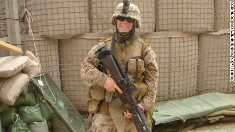 Sean Barney in April 2006, at the Civil-Military Operations Center in Fallujah, Iraq, a month before he survived being shot through the neck by an enemy sniper, an injury for which he was awarded a Purple Heart.