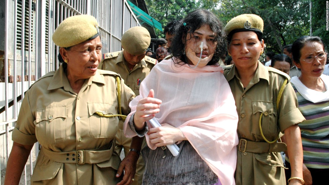 Irom Chanu Sharmila was nominated for the Nobel Peace Prize in 2005. Here, she is escorted by female police officers prior to a court appearance in New Delhi in May, 2007.