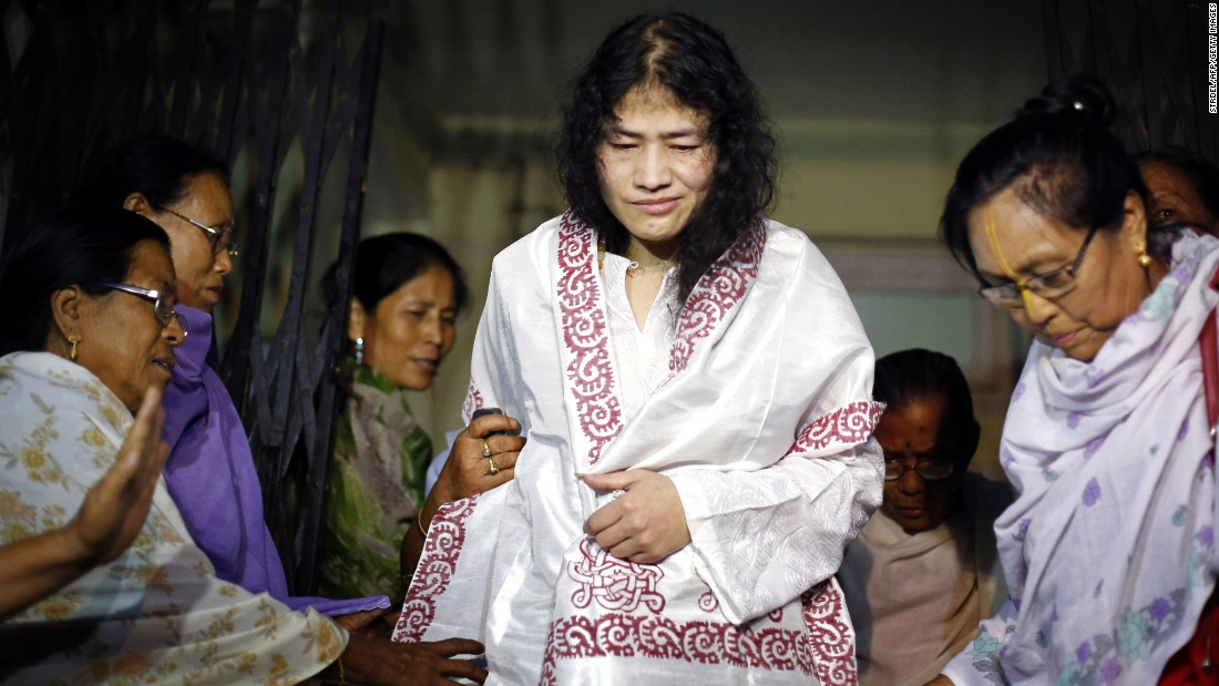 Irom Sharmila started her hunger strike in 2000, after 10 civilians were killed in a shooting blamed on the Indian army in Manipur state. Here, she is greeted by supporters following her release from a hospital jail in Imphal, India's northeastern Manipur state, on August 20, 2014.