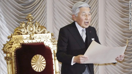 Japanese Emperor Akihito is required by law to serve until death.