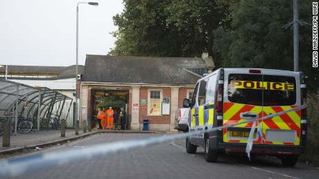 A police cordon outside London's Wandsworth Common Station
