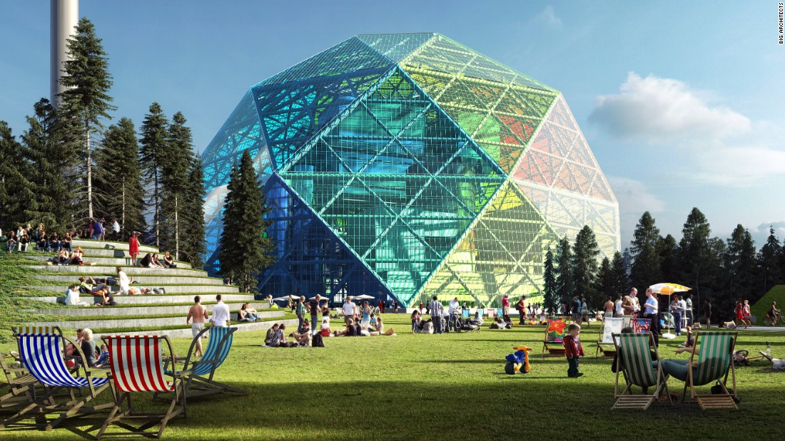 BIG architects designed this creative concept as part of a competition, proposing this technicolor waste-to-energy plant for a location near the impressive Uppsala cathedral in Sweden.