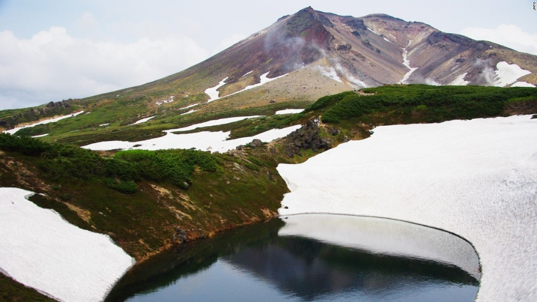 Patches of snow can be found on Mount Asahi, Hokkaido's tallest mountain, all year.