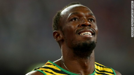 BEIJING, CHINA - AUGUST 27:  Usain Bolt of Jamaica celebrates after crossing the finish line to win gold in the Men's 200 metres final during day six of the 15th IAAF World Athletics Championships Beijing 2015 at Beijing National Stadium on August 27, 2015 in Beijing, China.  (Photo by Cameron Spencer/Getty Images)