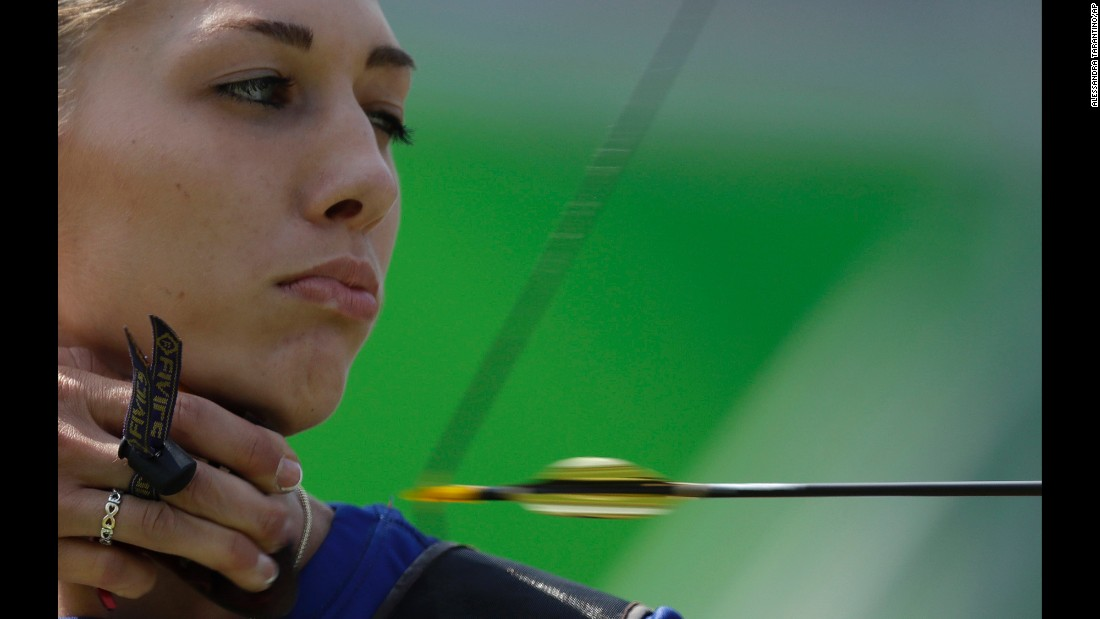 Slovakia's Alexandra Longova releases an arrow during the women's individual archery competition on Monday, August 8.