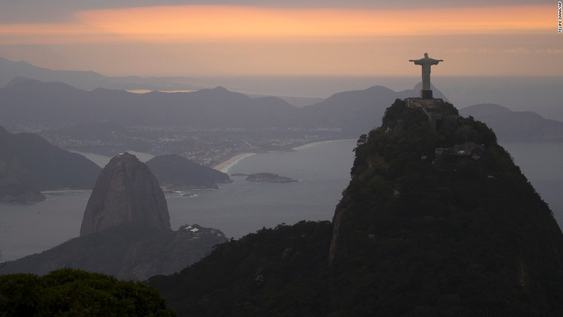 The Christ the Redeemer statue is seen during sunrise on Thursday, August 4.